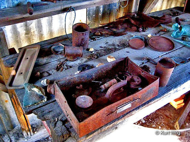 This is an old work bench inside an abandoned shed near the Bell Hartman Mine aka Boatwright Prospect.