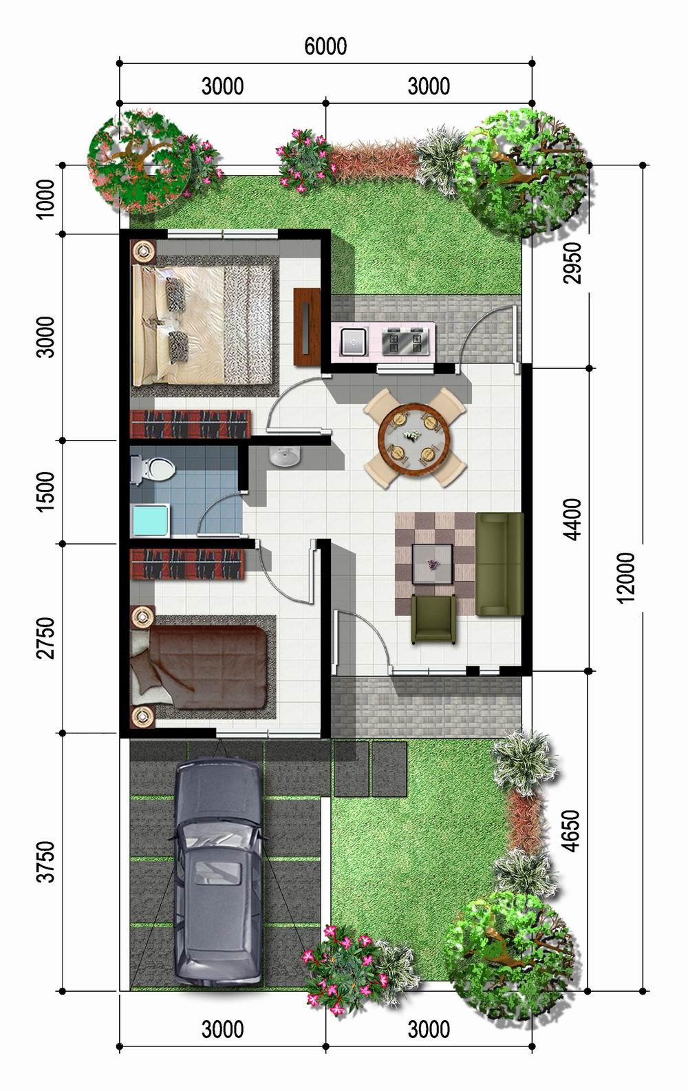 33 Denah Rumah Sederhana 1 Lantai 2 Kamar Tidur Rumahku Unik