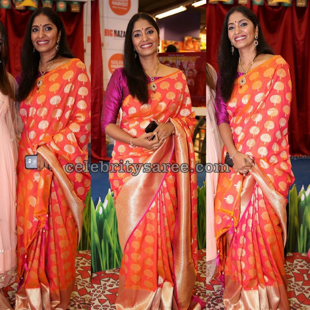 Anchor Jhansi Orange Benaras Saree