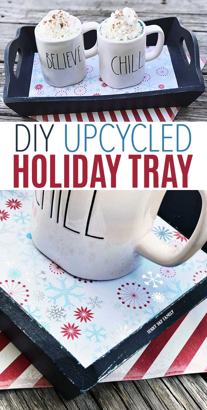 DIY upcycled serving tray for Christmas! Make a great DIY gift or the perfect spot for Christmas cookies & milk. #christmasdiy #christmasdiydecor #christmasgifts #hostessgift