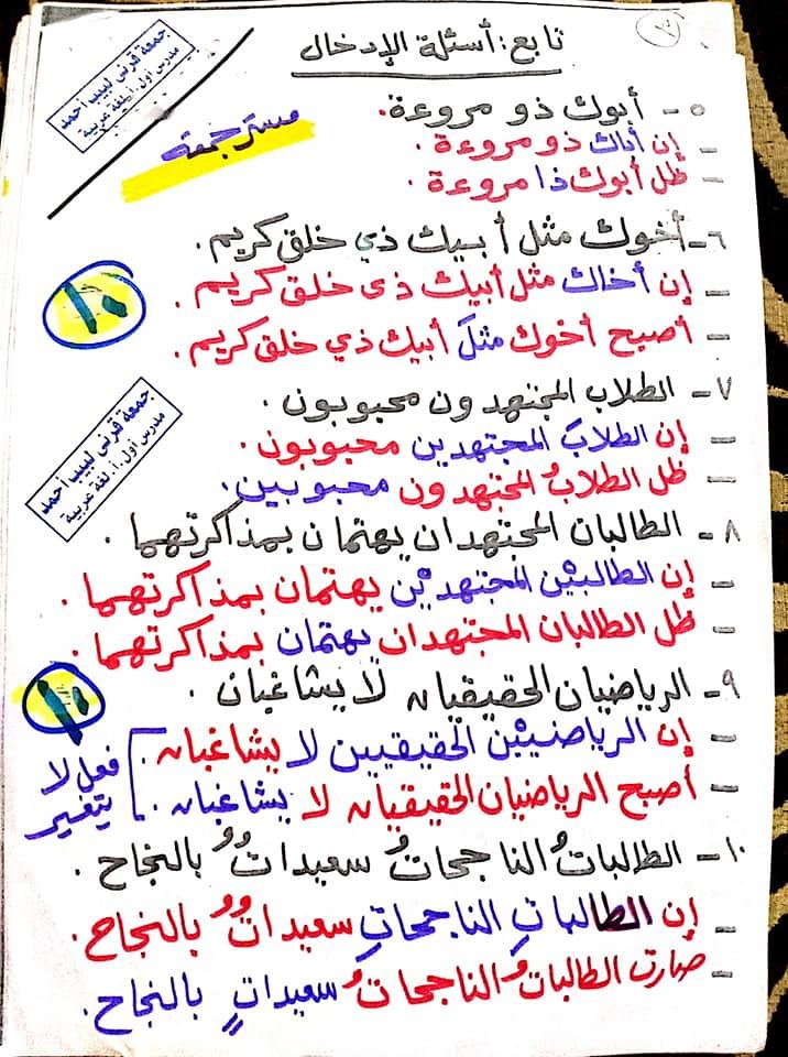 مراجعة اللغة العربية للصف السادس الابتدائي ترم ثاني أ/ جمعة قرني لبيب 10