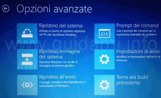 Unità ripristino Windows 10 Opzioni avanzate