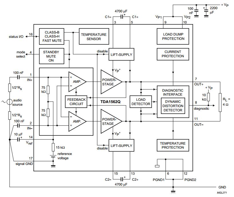 70 w power amplifier circuit