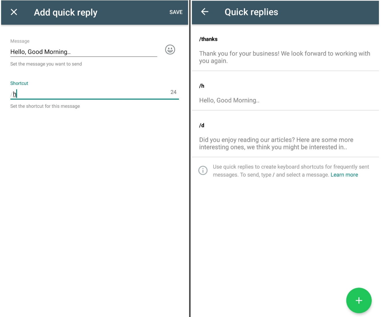 whatsapp business quick reply feature