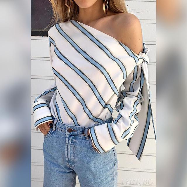 Εντυπωσιακή άσπρη-μπλε γυναικεία μπλούζα CASSY