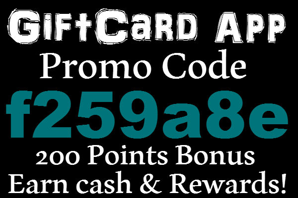 GiftCard App Referral Code 2016: 200 Bonus Points GiftCard Promotion Code