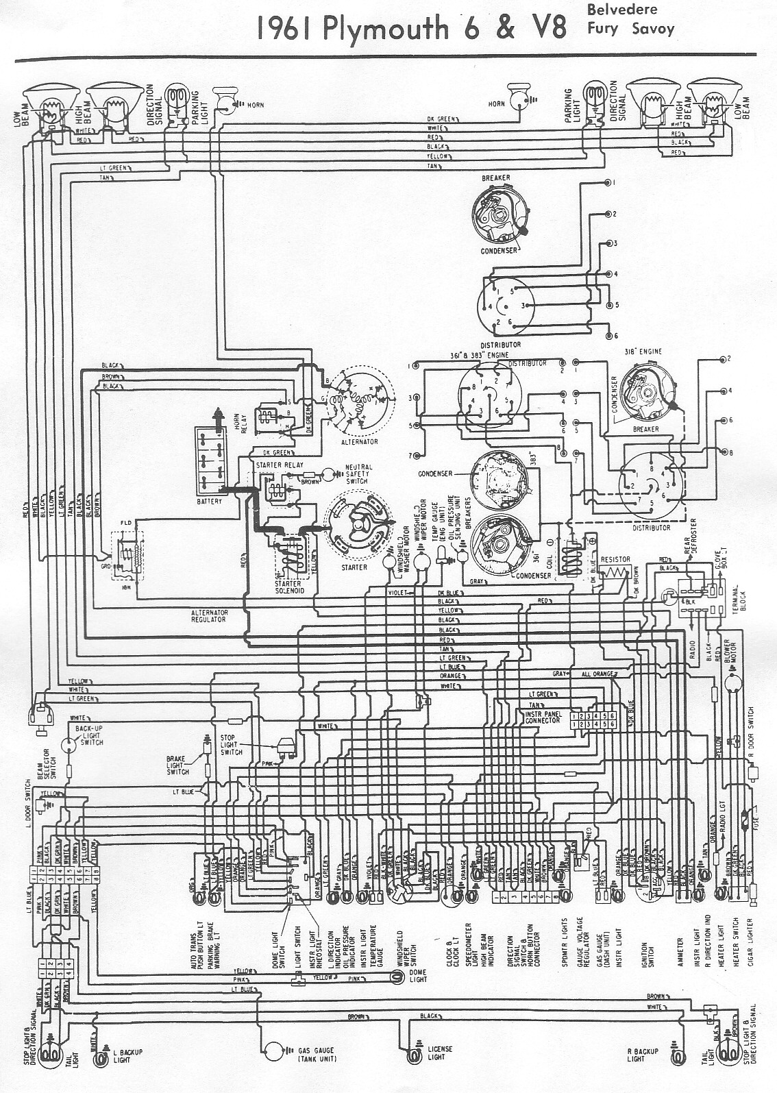 Free Auto Wiring Diagram: 1961 Plymouth Belvedere, Fury or