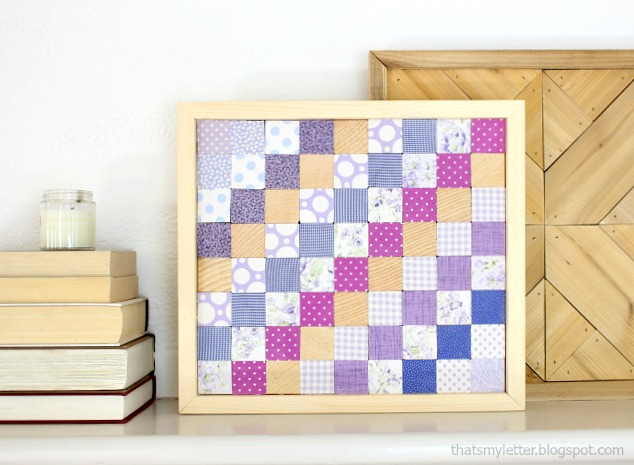 scrap wood and fabric wall quilt