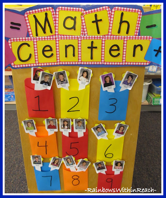 Kindergarten Math Center Assignments (child's photos on tongue depressors)