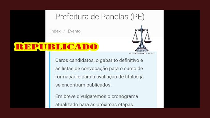 CONCURSO DE PANELAS - AS LISTAS FORAM REPUBLICADAS