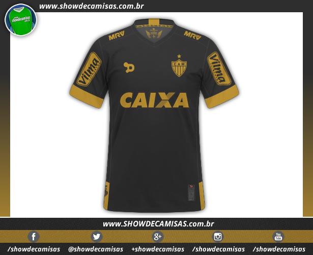 06619221cb Terceiro uniforme do Atlético Mineiro feito pela Dryworld tem detalhes em  dourado