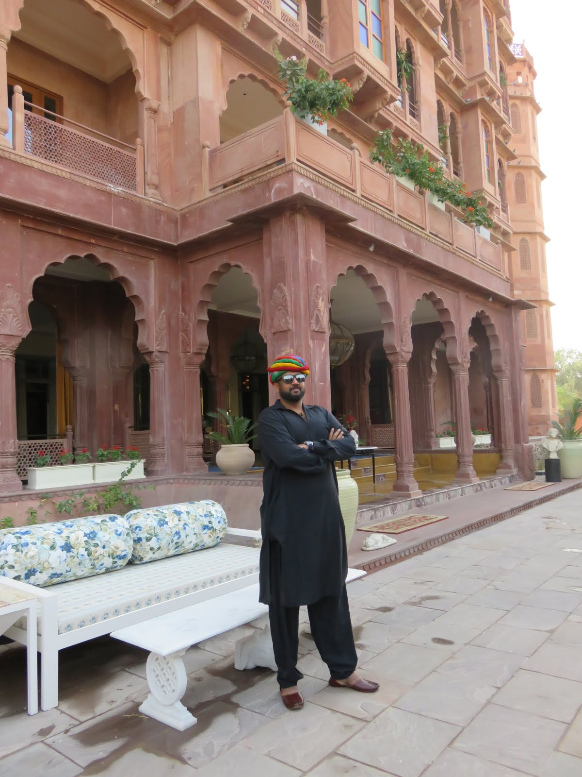 In front of Narendra Bhawan, Bikaner