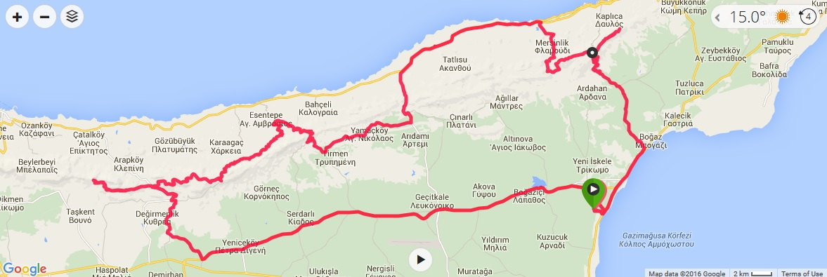 Road Bike Cycling In Northern Cyprus - Northern cyprus map