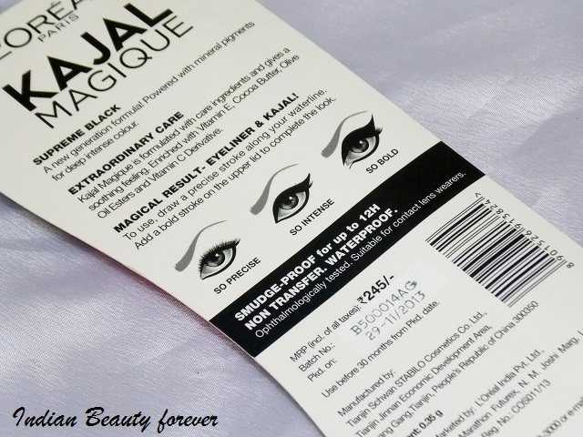 L'Oreal paris Magique Kajal Black Review