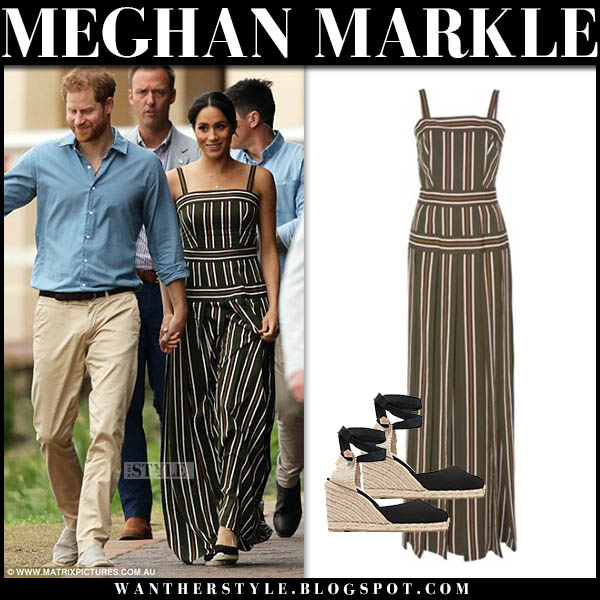 Meghan Markle in striped maxi dress martin grant australian tour outfits october 19