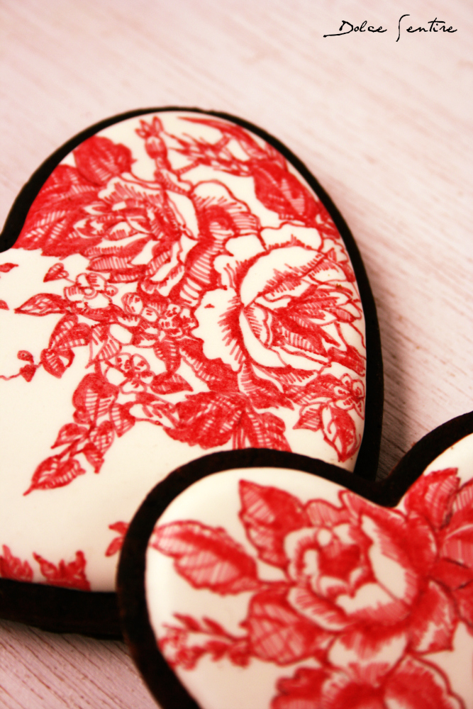 Galletas Red Toile de Jouy de San Valentín