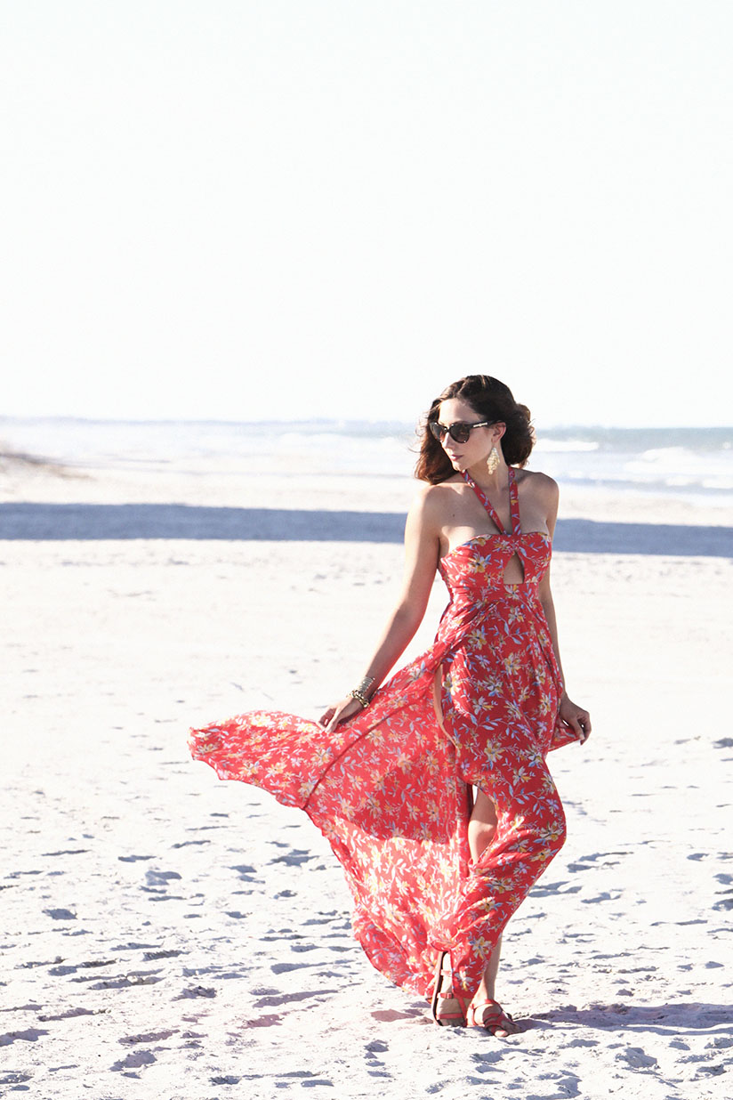 Red fly away tropical print maxi from Urban Outfitters