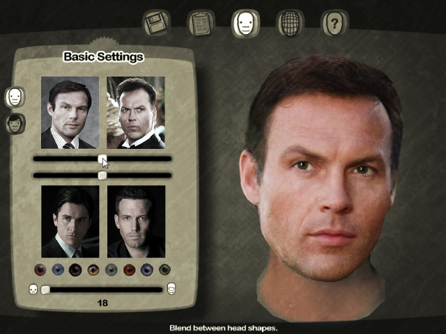 Batman character creator screen