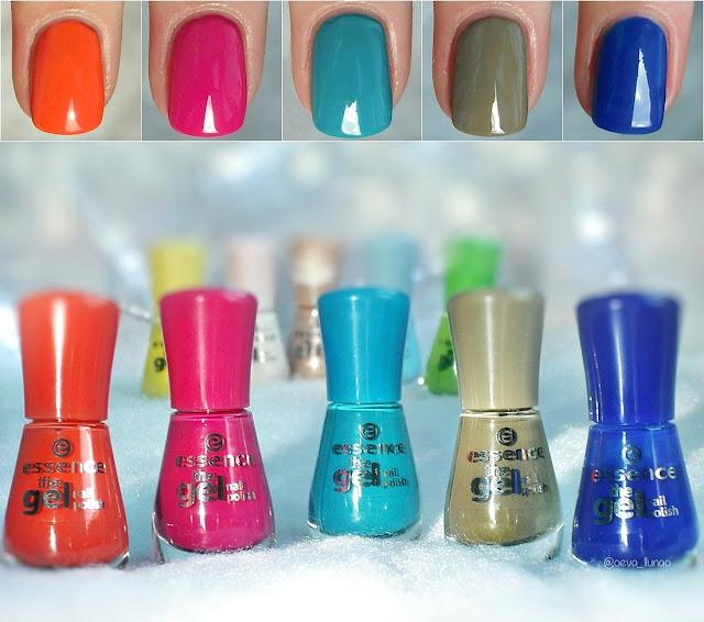 essence gel nail polish - 12 mandarine bay, 09 lucky, 30 let's get lost!, 32 discreet agent, 31 electriiiiiic - Pantone - Flame, Pink Yarrow, Niagara, Kale, Lapis Blue