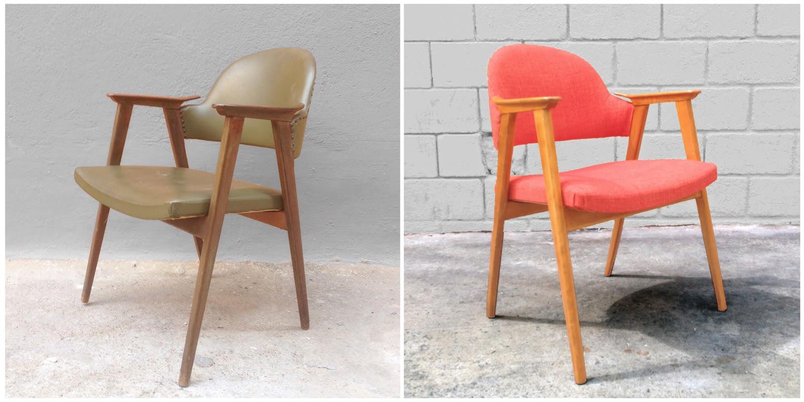 Antes y después - Una silla nórdica tapizada en tela de color naranja
