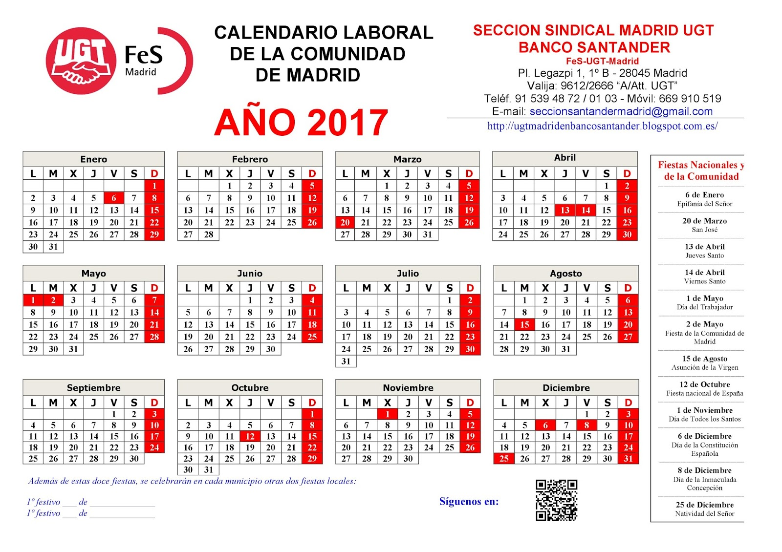Calendario Laboral Ua.Calendario Laboral De Madrid