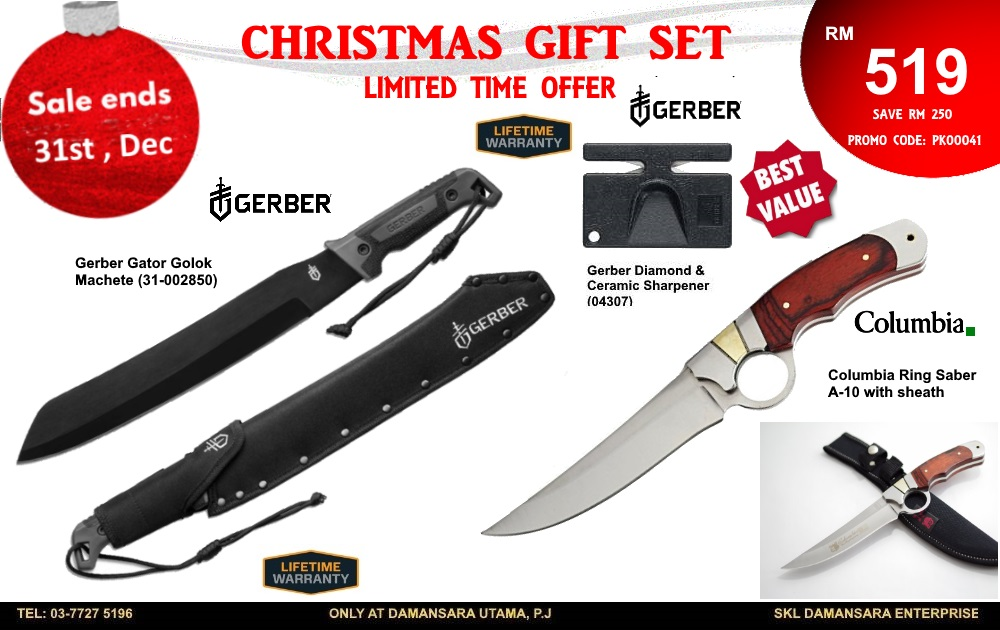 Christmas Promotion!! Gerber Golok Machete, Columbia Knife & Sharpener Set @ RM 519