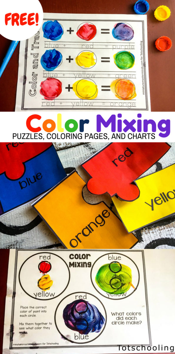 Color Mixing Activity Pack Totschooling - Toddler, Preschool, Kindergarten  Educational Printables
