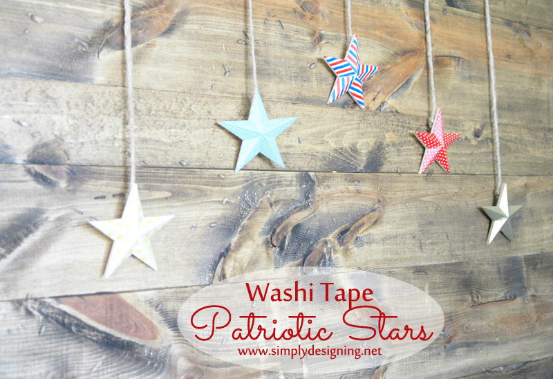 How to Make Washi Tape Patriotic Star Decor ~ such a simple 4th of July craft ~ pinning for later!  | #4thofJuly #memorialday #patriotic #redwhiteblue #washitape