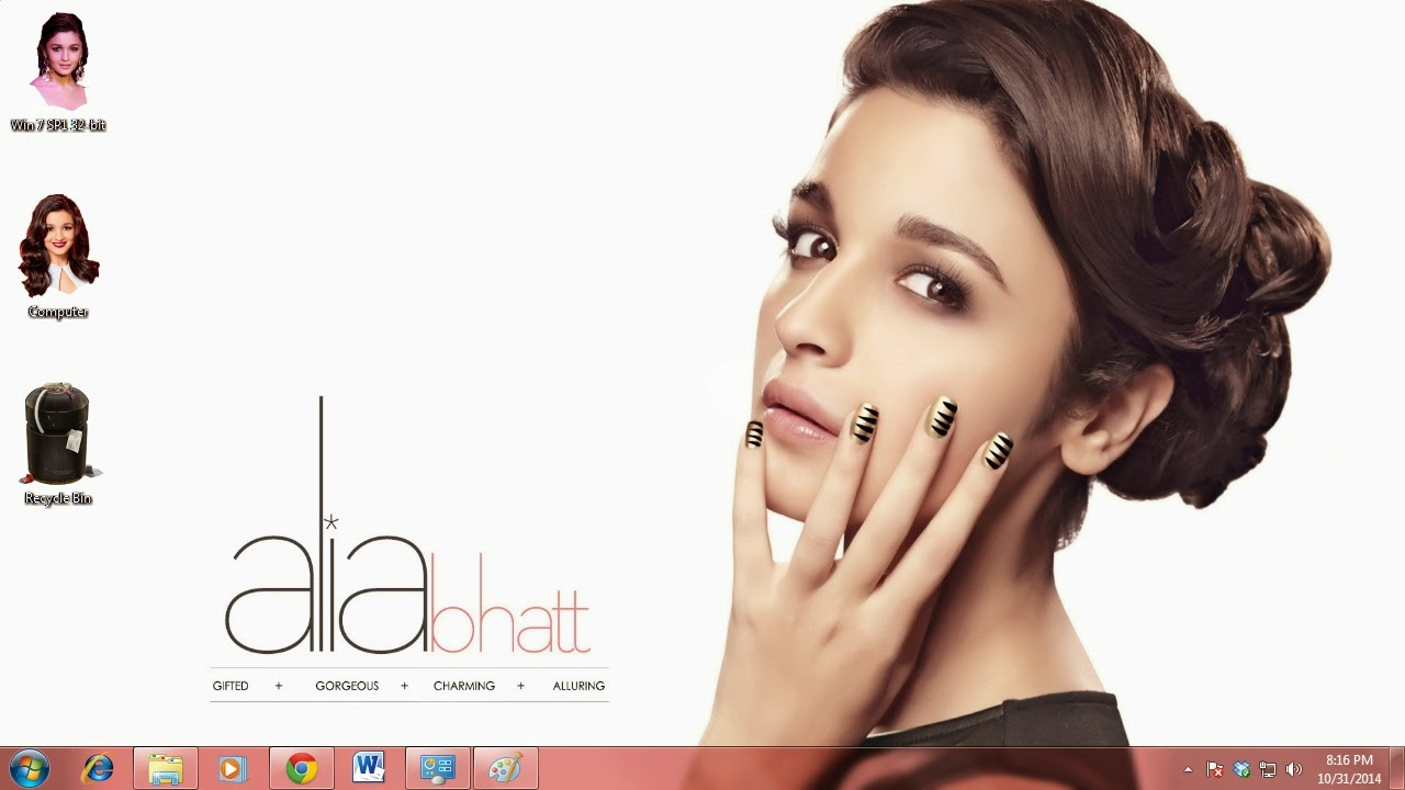 Alia Bhatt theme for Windows 7 / 8 / 8.1