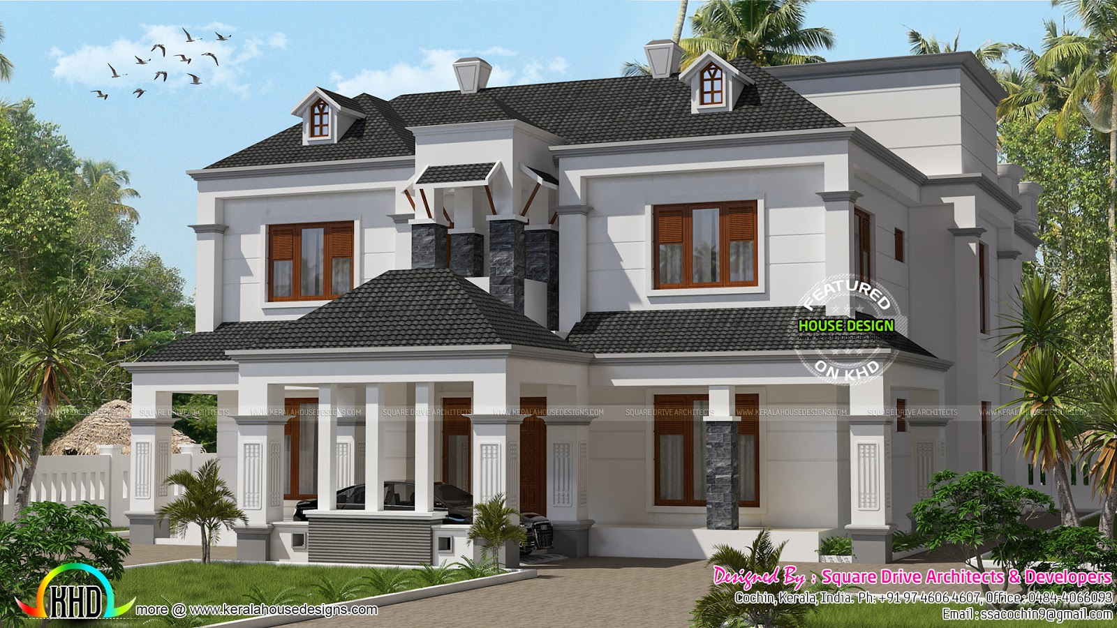Colonial model 3834 sq ft home kerala home design for Mobel kolonial style