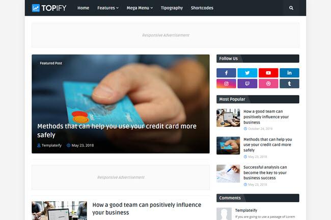 Topify - Responsive Blogger Templates