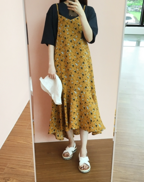 Low-Cut Back Floral Pinafore Dress