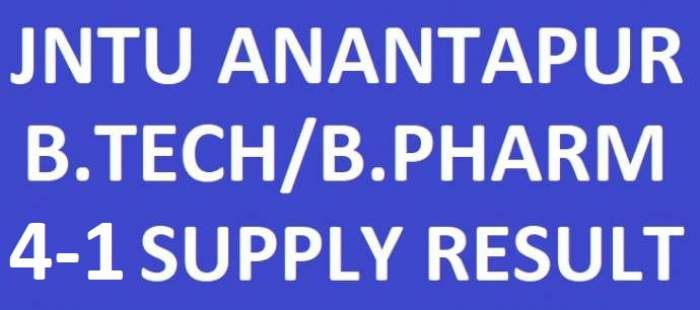 manabadi JNTUA B.Tech/B.Pharmacy 4-1 Sem Supply Results May June 2018