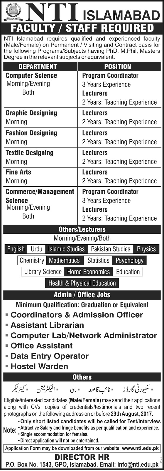 job in National Textile Institute Islamabad NTI Aug 2017