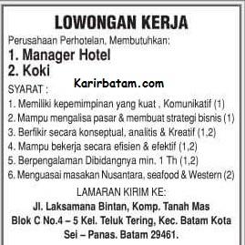 Lowongan Kerja Manager Hotel Batam