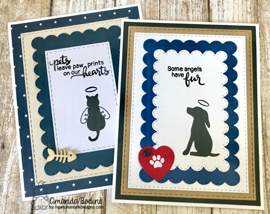 Dog and Cat Sympathy cards by Amanda Bodine | Furr-ever Friends | Dog and Cat Sympathy Stamp Set by Newton's Nook Designs #newtonsnook