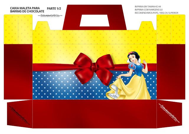 Blancanieves: Caja con Forma de Maleta para Imprimir Gratis.
