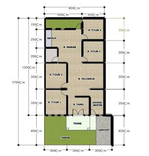 Denah Rumah Minimalis 4 Kamar Tidur Satu Lantai