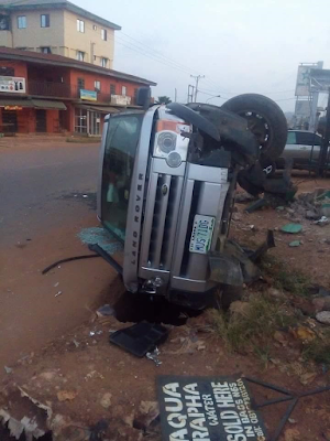Photos: Nigerian Facebook user survives near-fatal car accident