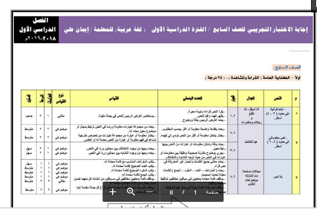إجابة الاختبار التجريبي كفايات في اللغة العربية للصف السابع