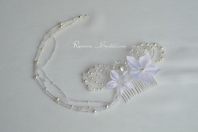 headband romantique féerique blanc en cristal et perles