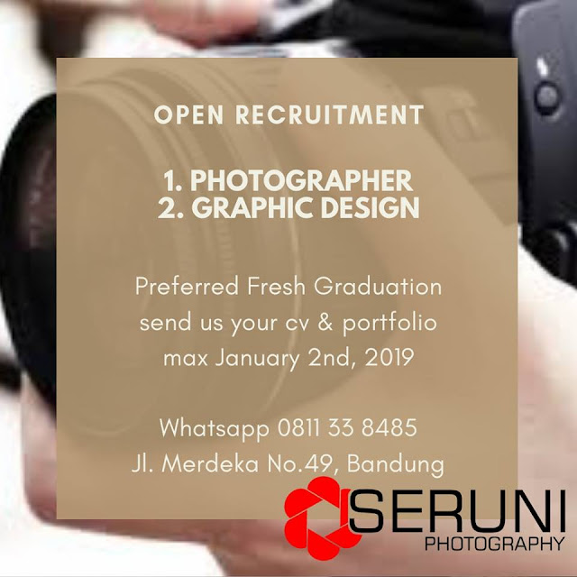 lowongan kerja Photographer SERUNI photography bandunga