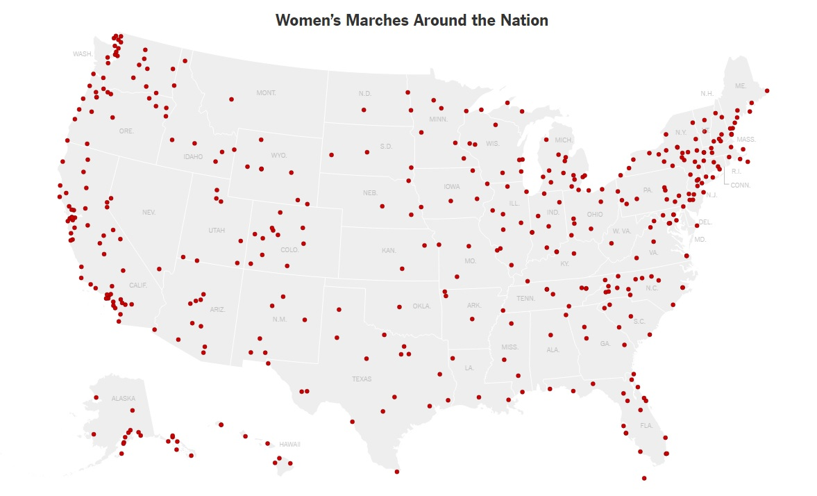OPenDoorPotion WOMENS MARCH GLOBAL MAP - Womens march map of the us