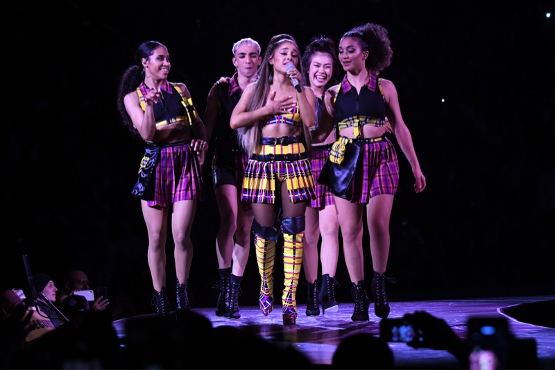Ariana Grande wears custom Versace look featuring tartan