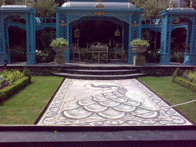 ogród pokazowy, mozaika, wiktoriańska altana ogrodowa
