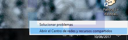 Como abrir el centro de redes y recursos compartidos desde la barra de tareas de Windows.