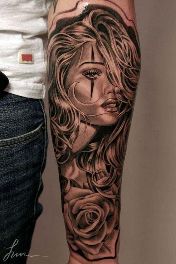 tatuaje en el antebrazo catrinas