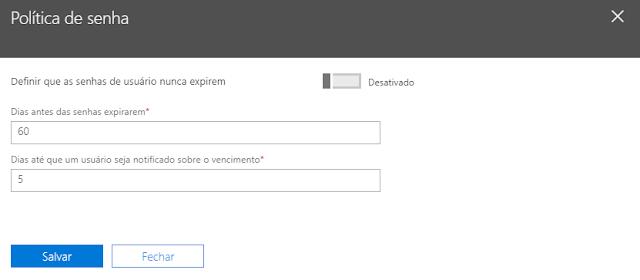 Alterando a política de senha dos usuários no Office 365