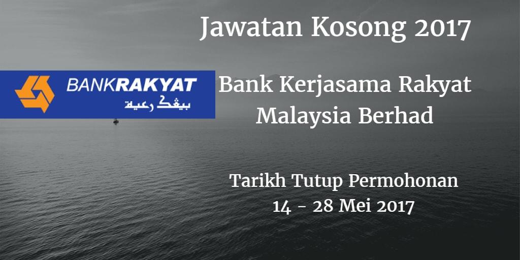 Jawatan Kosong Bank Kerjasama Rakyat Malaysia Berhad 14 - 28 Mei 2017