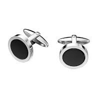 Men's Silver Onyx Cufflinks